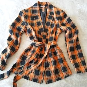 Fashion Union Black & Orange Check Blazer